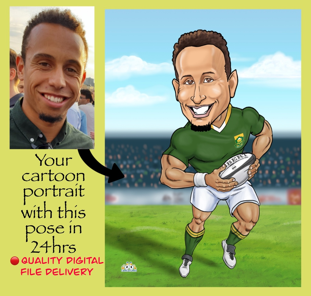 rugby caricatures as gifts